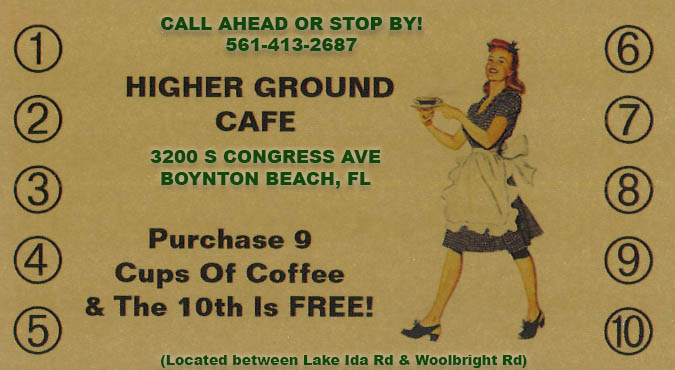 Buy 9 coffees and get your 10th coffee FREE!