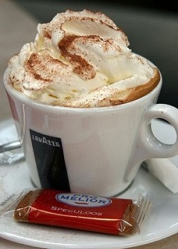 Hot cappucino with whip